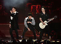 CARSON, CALIFORNIA - JUNE 01: Joe Jonas, Kevin Jonas and Nick Jonas of the Jonas Brothers perform onstage at 2019 iHeartRadio Wango Tango at Dignity Health Sports Park on June 01, 2019 in Carson, California.    /MediaPunch<br /> CAP/MPI/IS<br /> ©IS/MPI/Capital Pictures