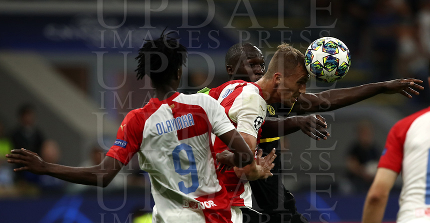 Football Soccer: UEFA Champions League -Group Stage- Group F Internazionale Milano vs  SK Slavia Praha, Giuseppe Meazza stadium, September 17, 2019.<br /> Slavia Praha's captain Tomas Soucek (c) in action with his teammate Peter Olayinka (r) and Inter's Romelu Lukaku (r) during the Uefa Champions League football match between Internazionale Milano and Slavia Praha at Giuseppe Meazza (San Siro) stadium, September 17, 2019.<br /> UPDATE IMAGES PRESS/Isabella Bonotto