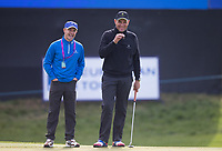 footballer turned actor Vinnie Jones (right) and caddy for the day former Chelsea teammate Dennis Wise during the GOLFSIXES ProAm  at Centurion Club, St Albans, England on 5 May 2017. Photo by Andy Rowland.