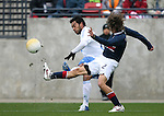 Frankie Hejduk (2), of the United States, fails to block a cross by Guatemala's Carlos Ruiz (behind) on Sunday, February 19th, 2005 at Pizza Hut Park in Frisco, Texas. The United States Men's National Team defeated Guatemala 4-0 in a men's international friendly.
