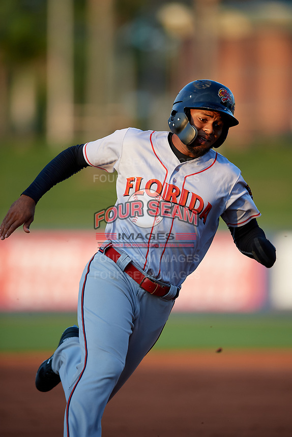 Florida Fire Frogs Izzy Wilson (1) running the bases during a Florida State League game against the St. Lucie Mets on April 12, 2019 at First Data Field in St. Lucie, Florida.  Florida defeated St. Lucie 10-7.  (Mike Janes/Four Seam Images)
