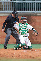 Charlotte 49ers catcher Nick Daddio (20) on defense against the Akron Zips at Hayes Stadium on February 22, 2015 in Charlotte, North Carolina.  The Zips defeated the 49ers 5-4.  (Brian Westerholt/Four Seam Images)