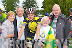 Peig Looney who officially started the Ring of Kerry cycle in Killarney on Saturday wishes her grandson Shane O'Neill Castleisland all the best l-r: Mary O'Neill, John Coffey, Shane O'Neill, Peig Looney and Kevin Looney..