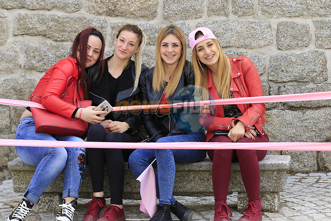 Young girls wait for the Giro to pass through Ala dei Sardi during Stage 2 of the 100th edition of the Giro d'Italia 2017, running 221km from Olbia to Tortoli, Sardinia, Italy. 6th May 2017.<br /> Picture: Eoin Clarke | Cyclefile<br /> <br /> <br /> All photos usage must carry mandatory copyright credit (&copy; Cyclefile | Eoin Clarke)
