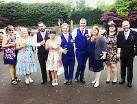 COPY BY TOM BEDFORD<br /> Pictured: Ben Jones (6th L) with partner Ross Gunter (5th L) and other friends and family, image taken from his open facebook account<br /> Re: Security staff hired for an event at a bar have been accused of mocking and turning away a disabled customer during celebrations for Pride Cymru on Saturday night.<br /> Ben Jones, who suffers from Huntington's Disease, was out with friends on Saturday evening and the group went to Chapel 1877 on Churchill Way in Cardiff at around 10pm.<br /> But a spokesman for the security staff refuted the claims, saying a judgment was made on the grounds of health and safety of individuals on the night.<br /> One of the symptoms of Ben's condition means that he has frequent involuntary body movements.
