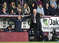 Burnley manager Sean Dyche shouts instructions to his team from the dug-out <br /> <br /> Photographer Rich Linley/CameraSport<br /> <br /> The Premier League - Burnley v Huddersfield Town - Saturday 6th October 2018 - Turf Moor - Burnley<br /> <br /> World Copyright &copy; 2018 CameraSport. All rights reserved. 43 Linden Ave. Countesthorpe. Leicester. England. LE8 5PG - Tel: +44 (0) 116 277 4147 - admin@camerasport.com - www.camerasport.com