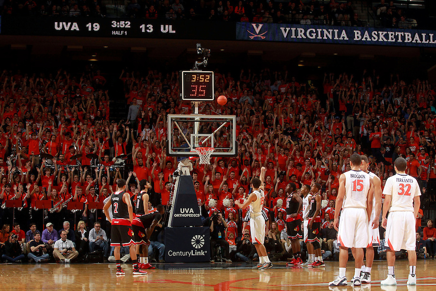 Virginia forward Anthony Gill (13) during an NCAA basketball game Saturday Feb. 7, 2015, in Charlottesville, Va. Virginia defeated Louisville  52-47. (Photo/Andrew Shurtleff)