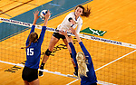 BROOKINGS, SD - SEPTEMBER 1: Sierra Peterson #1 from South Dakota State University tries to get a kill past Mattison DeGarmo #15 and Haylee Roberts #11 from CSU Bakersfield during their match Friday night at the Jackrabbit Invitational at Frost Arena in Brookings. (Photo by Dave Eggen/Inertia) (Photo by Dave Eggen/Inertia)