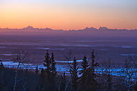 Alaska Range skyline (Mount Deborah, Hess and Hayes) over the Tanana valley flats, interior, minus 40 degree temperatures, 25 miles outside of Fairbanks, Alaska.