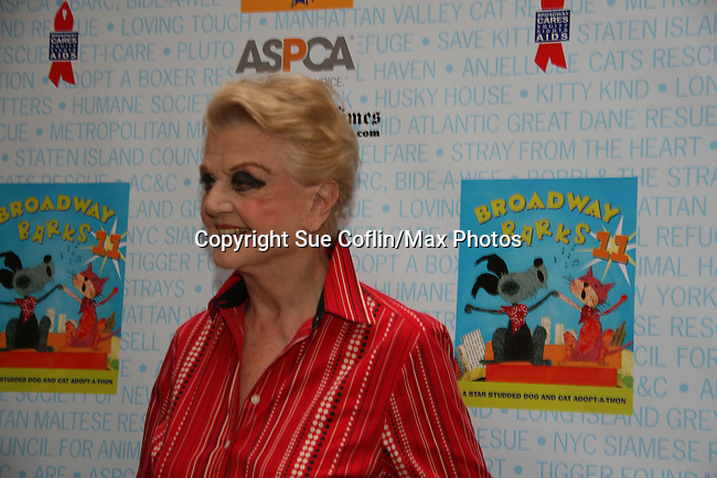 """Blithe Spirit's Angela Lansbury at Broadway Barks 11 - a """"Pawpular"""" star-studded dog and cat adopt-a-thon on July 11, 2009 in Shubert Alley, New York City, NY. (Photo by Sue Coflin/Max Photos)"""