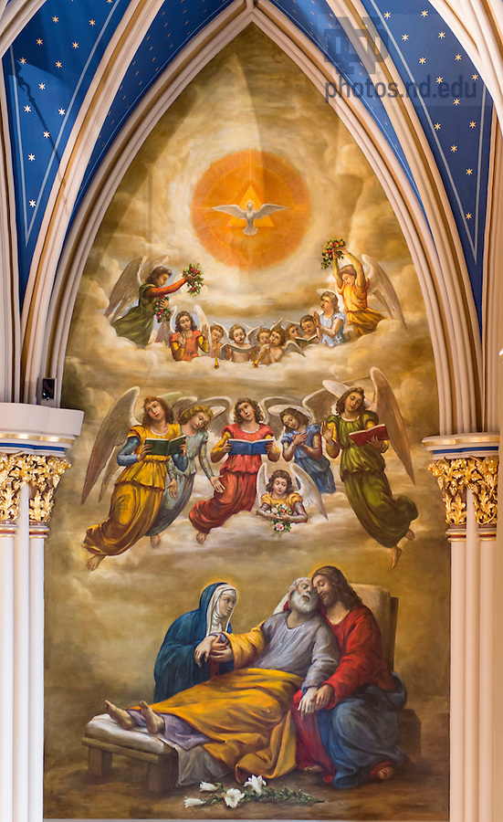 July 21, 2016; The holy family as depicted in the Death of Saint Joseph wall painting in the Basilica (Photo by Barbara Johnston/University of Notre Dame)