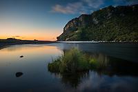 Sunset on beach with Kohaihai River near Karamea, Kahurangi National Park, Buller Region, West Coast, New Zealand