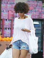 Outch - daisy dukes and plaster! Halle Berry sports a cute Helly Kitty plaster on her leg while leaving Bristol Farms in Beverly Hills after a grocery run. Notice: Halle doesn't use eco friendly and reusable bags! Los Angeles, California on 17.05.2012.Credit: Vida/face to face /MediaPunch Inc. ***FOR USA ONLY***