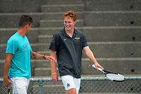 Alexander Klintcharov (left) and Macsen Paul Sisam. 2019 Wellington Tennis Open at Renouf Centre in Wellington, New Zealand on Thursday, 19 December 2019. Photo: Dave Lintott / lintottphoto.co.nz