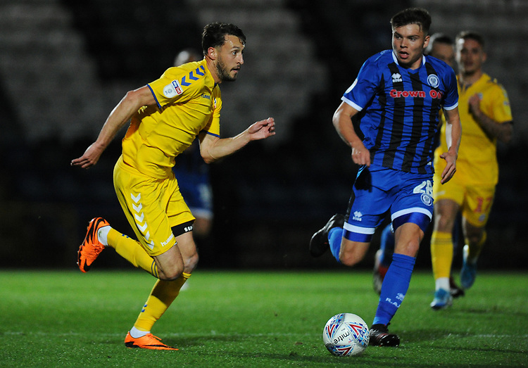 Bolton Wanderers' Will Buckley under pressure from Rochdale's Aaron Morley<br /> <br /> Photographer Kevin Barnes/CameraSport<br /> <br /> EFL Leasing.com Trophy - Northern Section - Group F - Rochdale v Bolton Wanderers - Tuesday 1st October 2019  - University of Bolton Stadium - Bolton<br />  <br /> World Copyright © 2018 CameraSport. All rights reserved. 43 Linden Ave. Countesthorpe. Leicester. England. LE8 5PG - Tel: +44 (0) 116 277 4147 - admin@camerasport.com - www.camerasport.com