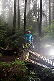 CANADA, Vancouver, British Columbia, portrait of mountain biker Andrew Baker on a trail in the rainforest, North Vancouver
