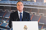 Real Madrid's president Florentino Perez during the presentation of Alvaro Morata at the Santiago Bernabeu Stadium. August 15, 2016. (ALTERPHOTOS/Rodrigo Jimenez)