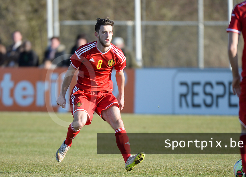 20150312 - GENDT , NETHERLANDS  : Belgian Alper Ademoglu pictured during the soccer match between Under 17 teams of  Belgium and Northern Ireland , on the first matchday in group 3 of the UEFA Elite Round Under 17 at De Bataven Stadion , Gendt , The Netherlands . Thursday  12 th March 2015 . PHOTO DAVID CATRY
