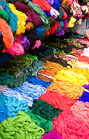 Colorful fabrics in market stall, Chichicastenango, Guatemala