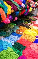Colorful fabrics in market stall, Chichicastenango, Guatemala