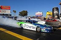 Feb. 17 2012; Chandler, AZ, USA; NHRA pro stock driver Steve Kent during qualifying for the Arizona Nationals at Firebird International Raceway. Mandatory Credit: Mark J. Rebilas-