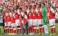 BOGOTA -COLOMBIA- 26 -10--2013. Formacion del Independiente Santa Fe frente al Deportivo Pasto  , encuentro de la fecha dieciseisava de la  Liga Postobon segundo semestre jugado en el estadio de Techo  / Formation of the Independiente Santa Fe against Deportivo Pasto, date sixteenth meeting of the League Europa League second half played in the stadium roof Action game for the match between the teams Independiente Santa Fe and Deportivo Pasto, date sixteenth meeting of the Postobon  League second half played in the Techo stadium .Photo: VizzorImage / Felipe Caicedol / Staff