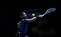 5th January 2020; RAC Arena, Perth, Western Australia; ATP Cup Australia, Perth, Day 3; Italy versus Norway; Fabio Fognini of Italy plays a backhand shot against Casper Ruud of Norway - Editorial Use