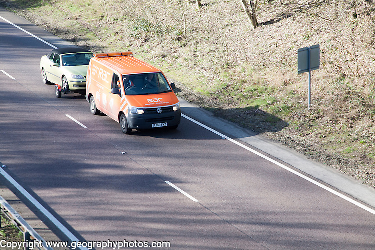 RAC breakdown service transporting broken down car, UK