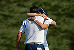 Europrean Team player Justin Rose gets a hug from his partner after winning his match on the 16th green during the Singles on the Final Day of the Ryder Cup at Valhalla Golf Club, Louisville, Kentucky, USA, 21st September 2008 (Photo by Eoin Clarke/GOLFFILE)