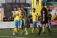 Georgios Aresti of Haringey scores and celebrates during Haringey Borough vs Herne Bay, Emirates FA Cup Football at Coles Park Stadium on 7th September 2019