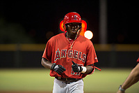 AZL Angels right fielder Trent Deveaux (17) during an Arizona League game against the AZL Giants Black at the San Francisco Giants Training Complex on July 1, 2018 in Scottsdale, Arizona. The AZL Giants Black defeated the AZL Angels by a score of 4-2. (Zachary Lucy/Four Seam Images)