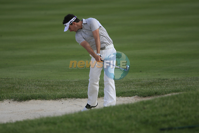 Alejandro Canizares (ESP) plays his 2nd shot from a fairway bunker on the 17th hole during Day 1 of the Open de Espana at Real Club De Golf El Prat, Terrasa, Barcelona, 5th May 2011. (Photo Eoin Clarke/Golffile 2011)