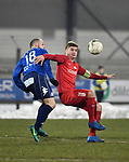 2018-03-03 / Voetbal / Seizoen 2017-2018 / FC Turnhout - Vosselaar / Tom Proost met Nick Havermans (r. Vosselaar)<br /> <br /> ,Foto: Mpics.be