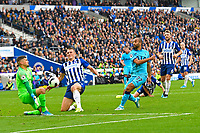 Lucas of Tottenham Hotspur sees his shot saved by Matthew Ryan of Brighton and Hove Albion during Brighton & Hove Albion vs Tottenham Hotspur, Premier League Football at the American Express Community Stadium on 5th October 2019