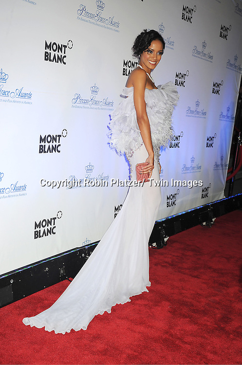 Selita Ebanks in Marchesa dress attends The Princess Grace Foundation Awards Gala on ..November 1, 2011 at Cipriani 42nd Street in New York City.