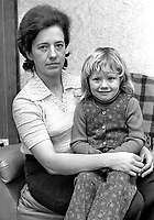Hilary Herron, widow, assassinated UDA leader, Tommy, Herron, with her 3 year old daughter Jill. She is pictured at her home following the compensation award of £500 for the loss of her husband. His murder occured on 15th September, 1973,197611240493.