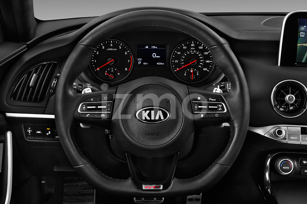Car pictures of steering wheel view of a 2019 KIA Stinger GT 5 Door Hatchback
