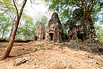 Angkorian temple Prasat Pram at Koh Ker (early 10th century).<br /> Koh Ker temple complex is a remote archaeological site in the jungle of Preah Vihear province in northern Cambodia. Inscriptions found at the site say the name of the ancient town was Chok Gargyar. Briefly in the reign of Jayavarman IV and Harshavarman II (928&ndash;944 AD) it was the capital of the Khmer Empire.Koh Ker was also known as Lingapura (City of Lingams), all of the monuments here are dedicated to Hindu deities, mainly Shiva.
