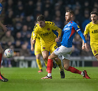 Fleetwood Town's Ched Evans (left) battles with Portsmouth's Tom Naylor (right) <br /> <br /> Photographer David Horton/CameraSport<br /> <br /> The EFL Sky Bet League One - Portsmouth v Fleetwood Town - Tuesday 10th March 2020 - Fratton Park - Portsmouth<br /> <br /> World Copyright © 2020 CameraSport. All rights reserved. 43 Linden Ave. Countesthorpe. Leicester. England. LE8 5PG - Tel: +44 (0) 116 277 4147 - admin@camerasport.com - www.camerasport.com
