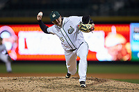 Charlotte 49ers relief pitcher Austin Wynn (45) in action against the North Carolina Tar Heels at BB&T BallPark on March 27, 2018 in Charlotte, North Carolina. The Tar Heels defeated the 49ers 14-2. (Brian Westerholt/Four Seam Images)