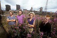 August 1981. Newcastle area, England. More than 3000 workers laid off from Cokeworks Company, owned by Brish Steel. Among them, posing in front of the factory from left to right, Brian Curnick, Tom Stevenson, Paul Tilley and Brian Smith.