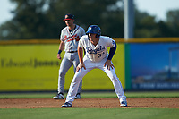 Vinnie Pasquantino (33) of the Burlington Royals takes his lead off of second base against the Danville Braves at Burlington Athletic Stadium on July 13, 2019 in Burlington, North Carolina. The Royals defeated the Braves 5-2. (Brian Westerholt/Four Seam Images)
