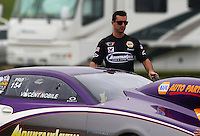 Apr 26, 2015; Baytown, TX, USA; NHRA pro stock driver Vincent Nobile during the Spring Nationals at Royal Purple Raceway. Mandatory Credit: Mark J. Rebilas-