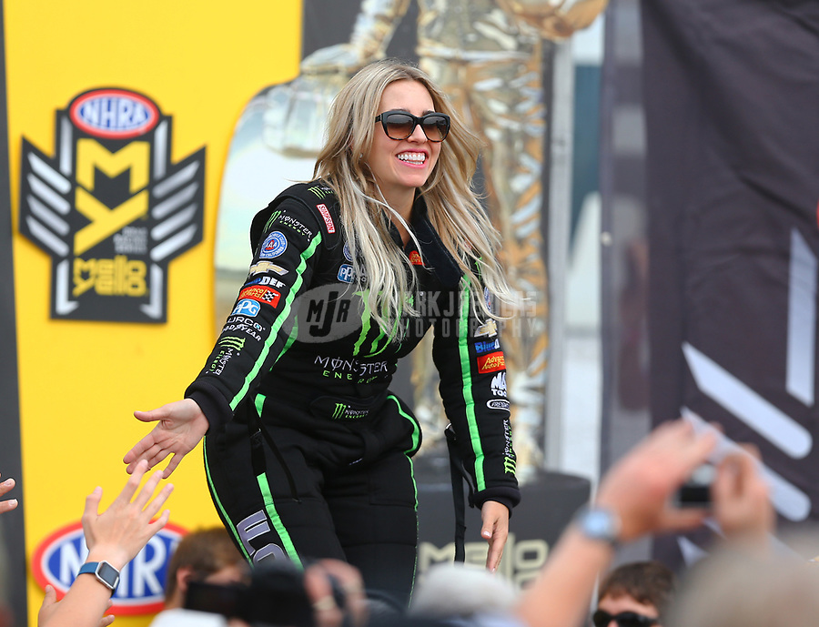 Aug 20, 2017; Brainerd, MN, USA; NHRA top fuel driver Brittany Force during the Lucas Oil Nationals at Brainerd International Raceway. Mandatory Credit: Mark J. Rebilas-USA TODAY Sports