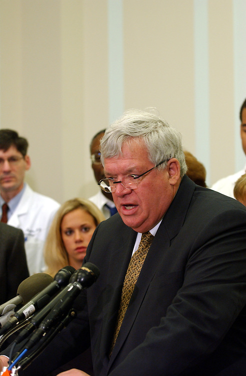 medical1_031203 -- Speaker of the House J. Dennis Hastert, R-Ill., during a press conference on medical justice.