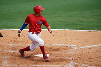 Clearwater Threshers shortstop Emmanuel Marrero (33) follows through on a swing during the first game of a doubleheader against the Lakeland Flying Tigers on June 14, 2017 at Spectrum Field in Clearwater, Florida.  Lakeland defeated Clearwater 5-1.  (Mike Janes/Four Seam Images)