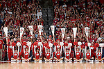 MADISON, WI - NOVEMBER 8: The cheerleaders of the Wisconsin Badgers perform during the game against the Carroll College Pioneers at the Kohl Center on November 8, 2006 in Madison, Wisconsin. The Badgers beat the Pioneers 81-61. (Photo by David Stluka)