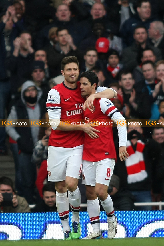 Olivier Giroud of Arsenal scores and celebrates - Arsenal vs Reading - Barclays Premier League Football at the Emirates Stadium, London - 30/03/13 - MANDATORY CREDIT: George Phillipou/TGSPHOTO - Self billing applies where appropriate - 0845 094 6026 - contact@tgsphoto.co.uk - NO UNPAID USE.