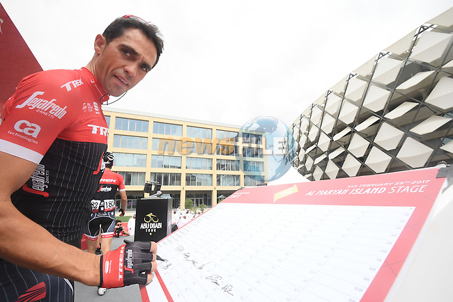Alberto Contador (ESP) Trek-Segafredo at sign on before the start of Stage 3 Al Maryah Island Stage of the 2017 Abu Dhabi Tour, starting at Al Ain and running 186km to the mountain top finish at Jebel Hafeet, Abu Dhabi. 25th February 2017<br /> Picture: ANSA/Claudio Peri | Newsfile<br /> <br /> <br /> All photos usage must carry mandatory copyright credit (&copy; Newsfile | ANSA)