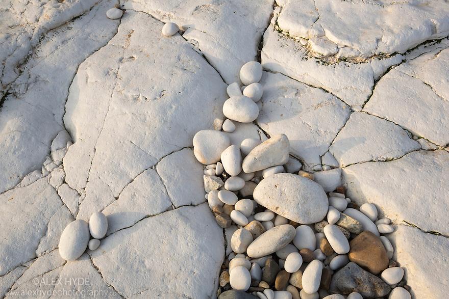 Chalk pebbles on undercliff chalk shelf, Flamborough Head, Yorkshire, UK. February.